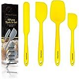 Yellow Silicone Spatula Set – Non Stick High Heat Resistant Kitchen Utensils – 608F – Sturdy Steel Core – Spreader, Scraper,