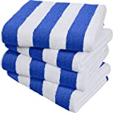Large Beach Towel Pool Towel in Cabana Stripe - (Blue 4 Pack 30x60 inches) - Cotton - by Utopia Towel
