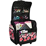 Everything Mary Deluxe Collapsible Rolling Craft Case, Floral - Scrapbook Tote Bag w/Wheels for Scrapbooking & Art - Travel O