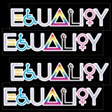 OIIKI 4Pcs Rainbow Equality Sign Bumper Decals, Car Pride Vinyl Bumper Stickers , Equal Rights and Love Waterproof Decals for