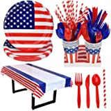 American Flag Patriotic Party Supplies Decoration for 4th of July, LEEFENGQI Disposable Dinnerware Set, Plastic Knives, Spoon