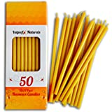 50 Natural Pure Beeswax Taper Candles ( 6) Natural Honey Scent