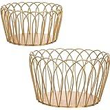 MyGift Gold-Tone Round Metal Wire Storage Baskets, Set of 2