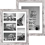 Q.Hou 11x14 Picture Frames Wood Patten Distressed White Set of 2, Each Frame with 2 Mats,Display 8x10 or Five 4x6 Photos with