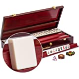 Yellow Mountain Imports American Mahjong Set - The Classic - with 166 Tiles, a Vintage Rosewood Veneer Case, Four Wooden Rack