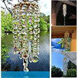 Colorful Crystal Wind Chimes, Wind Chime for Outside, Crystal Clear Chandelier Wind Chimes, Handmade Ornament Decoration Wind
