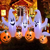 UMARDOO Halloween Inflatable Decorations,8FT Long Inflatable Pumpkin & Ghost,Blow Up Inflatables with LED Lights for Hallowee