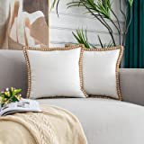 HYOUBALA Decorative Throw Pillow Covers 18x18 Set of 2- Burlap Linen Trimmed Tailored Edges Farmhouse Pillow Cases for Couch