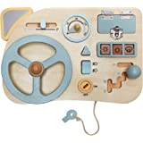 Montessori Toy Steering Wheel - Car Driving Busy Board for Toddlers - Wooden Sensory Activity Board for Kids 1 2 3 4 Year Old