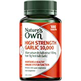 Nature's Own High Strength Garlic 10000 - Antioxidant - Reduce mild upper respiratory tract congestion, 100 Tablets