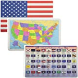 Painless Learning Educational Placemats USA Map Americam Flag and State Flags Set Non Slip Washable