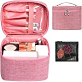 Makeup Bag Travel Large Cosmetic Bag Case Organizer Pouch with Mesh Bag Brush Holder Make Up Toiletry Bags for Women(Pink)