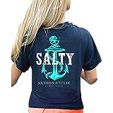 Southern Attitude Pirate Anchor Navy Preppy Women's Short Sleeve Tee Shirt