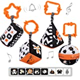 TUMAMA High Contrast Shapes Sets Baby Toys, Black and White Stroller Toy for Car Seat Baby Plush Rattles Rings Hanging Toy fo