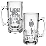 Vandor 15579 John Wayne Never Trust A Man 16 Ounce Glass Stein, Clear