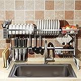 Over Sink Dish Drying Rack, Drainer Shelf for Kitchen Supplies Storage Counter Organizer Utensils Holder Stainless Steel Disp