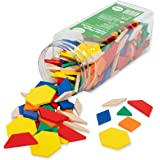 edxeducation Plastic Pattern Blocks - Set of 250 - Early Geometry Skills - Math Manipulative for Shape Recognition, Symmetry,