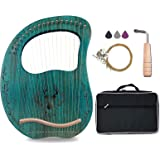 Lyre Harp, 19 Metal Strings Maple Saddle Mahogany Body Lyra Harp with Bag & key included