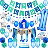 1st Birthday Boy Decorations PREMIUM Party Supplies Set   Royal High Chair Decoration, First Baby Boys Prince Blue Crown Hat,