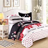 LAMEJOR Duvet Cover Sets Twin Size Christmas Series Christmas Tree and Bells Pattern Bedding Set Comforter Cover(1 Duvet Cove