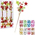 """17""""Christmas Tree Decorations Beads Sequin Electroplating Five-Pointed StarPick,Christmas Tree Decorations for Home Vase Orn"""