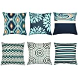 Decorative Throw Pillow Covers 16 x 16 Inch Double Side Design, ZUEXT Set of 6 Cotton Linen Indoor Outdoor Pillow Case Cushio