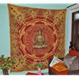 Buddha Meditation and Lotus Cotton Brown Wall Hanging Indian Tapestry Beach Hippie Bohemian Tapestries Wall Art Cotton 90x84