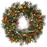 National Tree 24 Inch Wintry Pine Wreath with Cones, Red Berries, Snowflakes and 50 Battery Operated White LED Lights (WP1-30