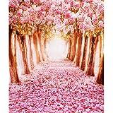 1.5m*2.2m 桜の花 道路 スタジオ 小道具 写真撮影 背景 防水 芸術的効果