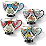 Large Mugs Set of 4 (15oz/425ml) Floral Ceramics Coffee Mugs for Latte Cappuccino Well Packed