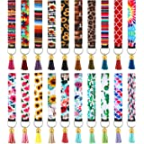 20 Pieces Neoprene Wristlet Keychain Printed Hand Wrist Lanyard Keychain Holder with 20 Pieces Colorful Tassel Pendants for G