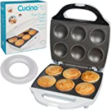 Mini Pie and Quiche Maker- Pie Baker Cooks 6 Small Pies and Quiches in Minutes- Non-Stick Cooker w Dough Cutting Circle for E