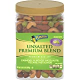 PLANTERS Unsalted Premium Nuts, 34.5 oz. Resealable Container - Contains Roasted California Pistachios, Cashews, Almonds, Haz