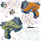 INSGUARD Bubble Gun for Kids, 2 Bubble Machine Gun with 4 Bubble Solution, Music & Light Up Bubble Machine for Parties Weddin
