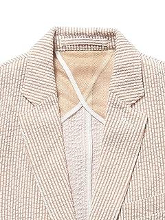 Seersucker Jersey Jacket 51-16-0224-012: White / Beige