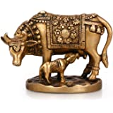 "Purpledip Cow with Calf - Brass Statue, VZF748, Golden, 5.2"" x 2.3"" x 4"""