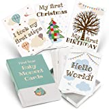 Milestone Cards for Baby Shower Gifts – Large 50 Card Set in Keepsake Box - Capture and Personalise Cherished Moments - Unise