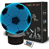 Soccer 3D Night Light for Kids,FULLOSUN Football Optical Illusion LED Lamp,16 Colors Changing Remote Control Sports Fan Room