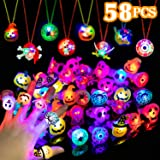 WEBSUN Halloween Party Favors LED Flash Rings for Kids and Adults Halloween Treats Great Assortment of 58