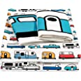 Camco Life is Better at The Campsite Queen-Size Beds | Set Includes (1) Fitted, (1) Flat Sheet and (2) Pillow Cases | Multi-R