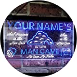 Personalized Your Name Custom Man Cave Established Year Dual Color LED Neon Sign White & Blue 400 x 300 mm st6s43-pb1-tm-wb