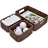 GRANNY SAYS Hand-Woven Storage Baskets, Imitation Wicker Baskets with Handles, Decorative Basket Set, Brown, Set of 3 (one La