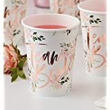 Ginger Ray Floral Rose Gold Foiled Team Bride Hen Party Paper Cups Pack of 8 - Floral Hen