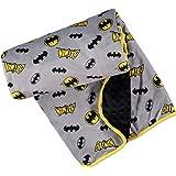 DC Comics Batman Unisex Childrens' Soft Baby Plush Blanket (Grey/Black/Yellow, 0-12 Months)