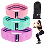 Resistance Booty Bands Set - 3 Non-Slip Fabric Loop Resistance Bands - Slingshot Elastic Exercise Bands are Perfect for...