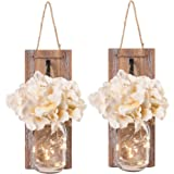 Besuerte Mason Jar Wall Sconces with LED Fairy Lights Automatic On and Off Timer Modern Wall Hanging Home Decor Farmhouse Dec