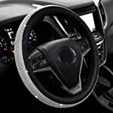 New Diamond Leather Steering Wheel Cover with Bling Bling Crystal Rhinestones, Universal Fit 15 Inch Anti-Slip Wheel Protecto