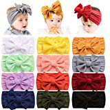 12 PCS Baby Nylon Headbands Hairbands Hair Bow Elastics for Baby Girls Newborn Infant Toddlers Kids