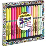 BIC Highlighter Grip Collection Box - Assorted Intense and Pastel Colours, Metal Gift Box of 15, Assorted Colours (992733)