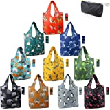 Reusable Shopping Bags Foldable Grocery Totes 10 Pack with Zipper Carry Pouch Cute Animal Gift Bags XLarge Machine Washable D